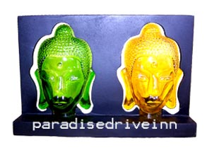 Bali 2 buddha face resin candle holder