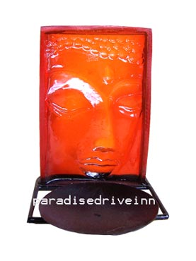 Bali Metal candle holder with buddha face