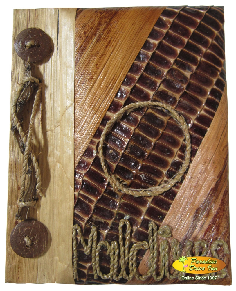 Bali Notebook with dried leaf